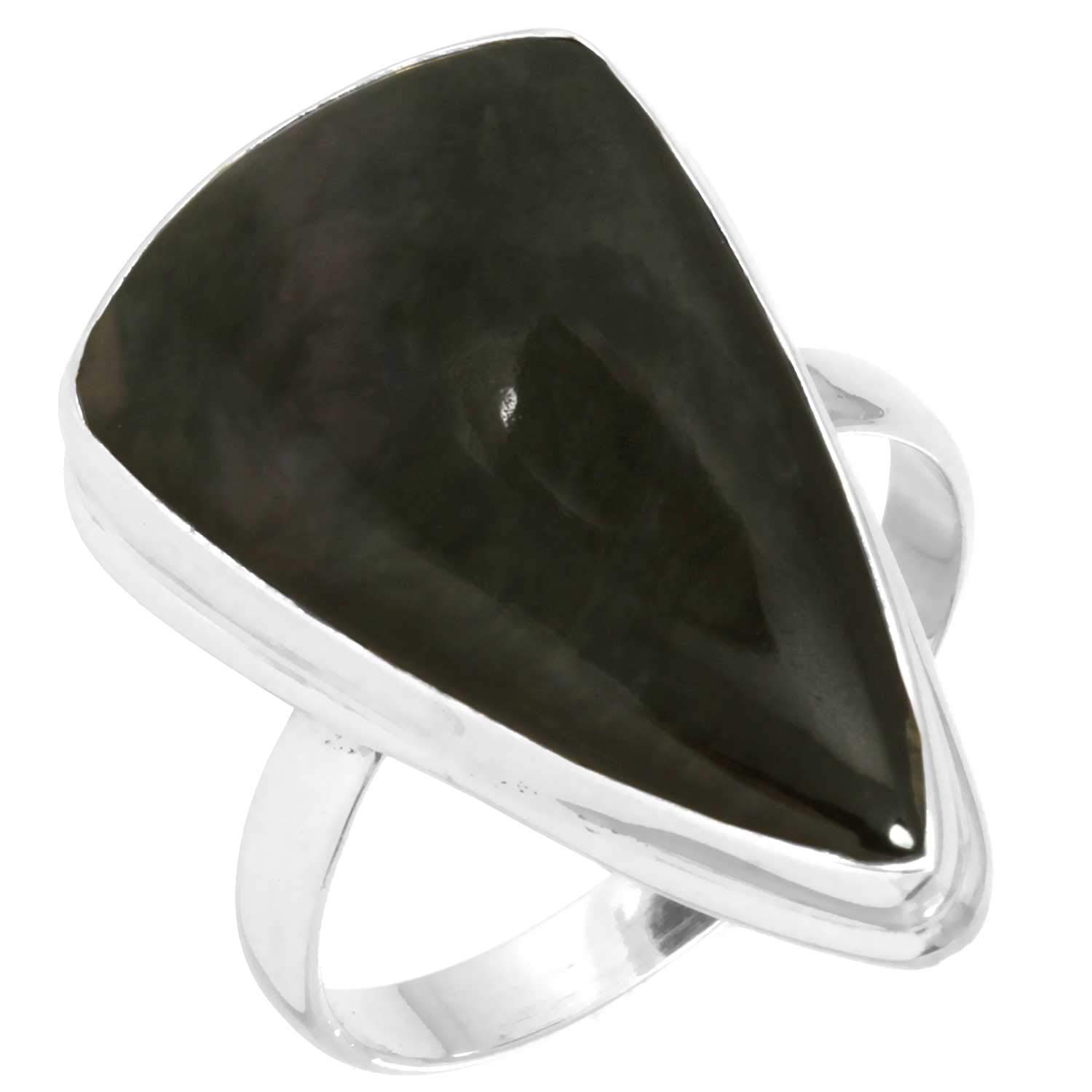 Natural Mexican Velvet Obsidian Jewelry Solid 925 Sterling Silver Ring Size 11