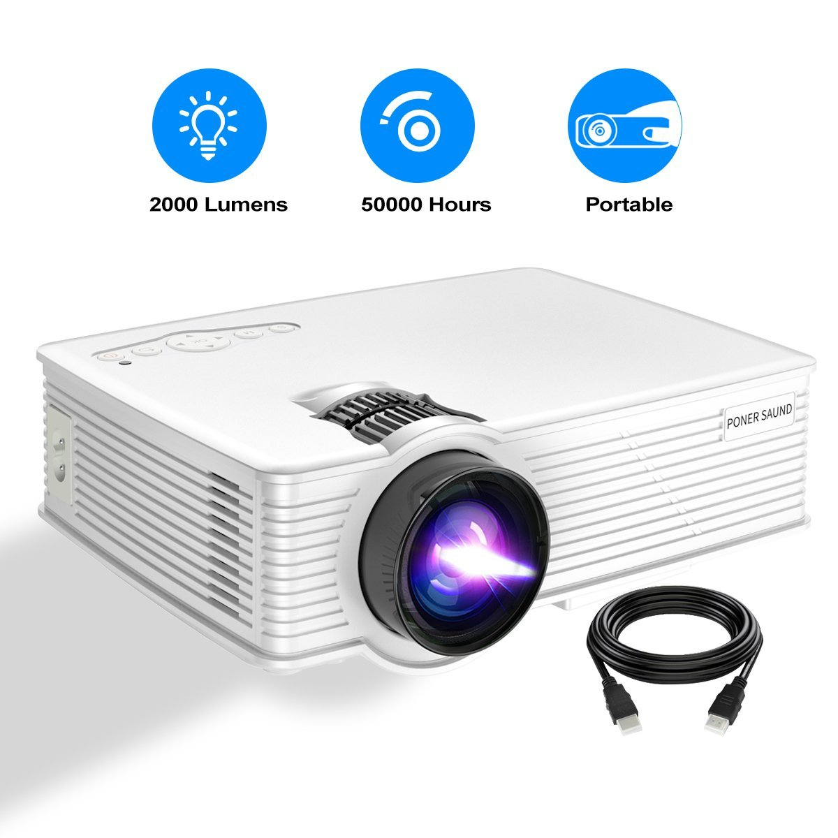 Portable Projector, PONER SAUND GP9 Projector 2000 Lux LED Mini Projector, 1080P Supported Video Projector with 170'' LCD, Compatible with Ipad, Fire TV Stick, PS4, HDMI, VGA, TF, USB by PONER SAUND