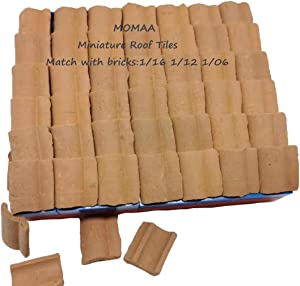 MOMAA 1/16 Miniature Roof Tiles Miniature Brick- 1/12 1/06Mini Tiles Model Building Set Construction Set Sand Table Micro Landscape Accessories DIY Dollhouse Roof Tiles Bricks Diorama Fairy Garden