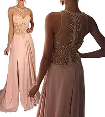 Prom Dresses 2018 Beaded Crystal Sexy Side Slit A Line Chiffon Long Formal Evening Gowns Pink