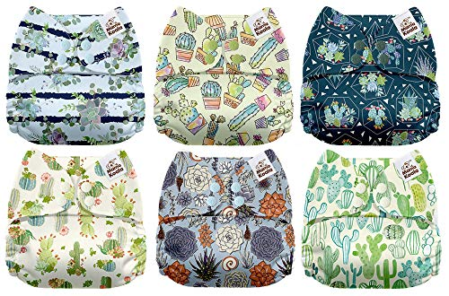 Mama Koala One Size Baby Washable Reusable Pocket Cloth Diapers, 6 Pack with 6 One Size Microfiber Inserts (Cacti Party)