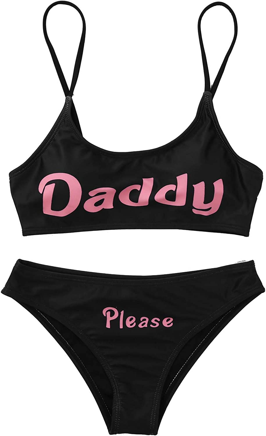 Choomomo Womens 2 Pieces Yes Daddy Bra Cheeky Thongs Lingerie Set Anime Cosplay Outfits