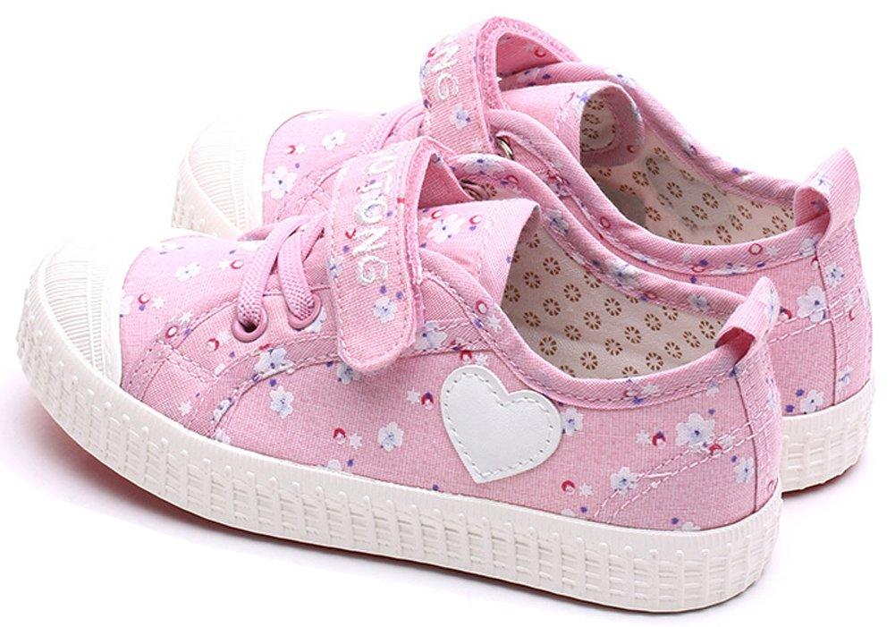 VECJUNIA Girls Sweet Floral Heart Painted Round Toe Canvas Shoes Pink 12.5 M US Little Kid by VECJUNIA (Image #5)