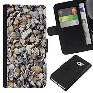 KingStore / Leather Etui en cuir / Samsung Galaxy S6 EDGE / Patrón Shore Sand Beach Naturaleza