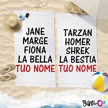 Par de toallas Playa Love You and Me personalizados con nombres la Bella la bestia