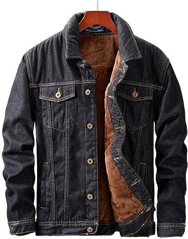 New Mens Fleece Jeans Jacket Stand Western Cowboy Leisure Denim Slim Fit Winter