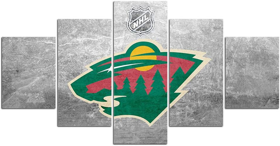 Minnesota Wild Hockey Team Logo Wall Decor Art Paintings 5 Piece Canvas Picture Artwork Ice Hockey Prints Poster Home Decoration Wooden Framed Ready to Hang(60''Wx32''H)