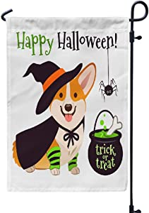 Pakaku Happy Fall Garden Flag Home Sweet Home Garden Flag Halloween Corgi Puppy Dog Double Sided Banner Outdoor Flags Weather Resistant for Garden Yard FrontYard Backyard
