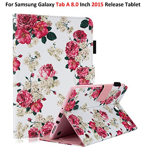Galaxy Tab A 8.0 2015 Model Case with Stylus Pen, T350/P350 Case, Dteck PU Leather Smart Wallet Case with [Auto Sleep Wake] Pretty Folio Stand Cover for Samsung Galaxy Tab A 8 Inch 2015-Rose Floral