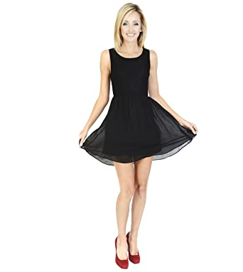 Urmoda Short Sleeveless little black dress Scoop neckline Party ... 246466d37