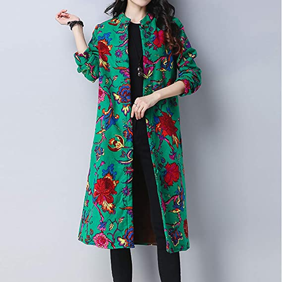 fc52dc13e18 Indeals Womens Ladies Grogeous Folk-Custom Floral Printing Cotton Winter  Warm Long Thick Coat Parka Outwear  Amazon.in  Clothing   Accessories