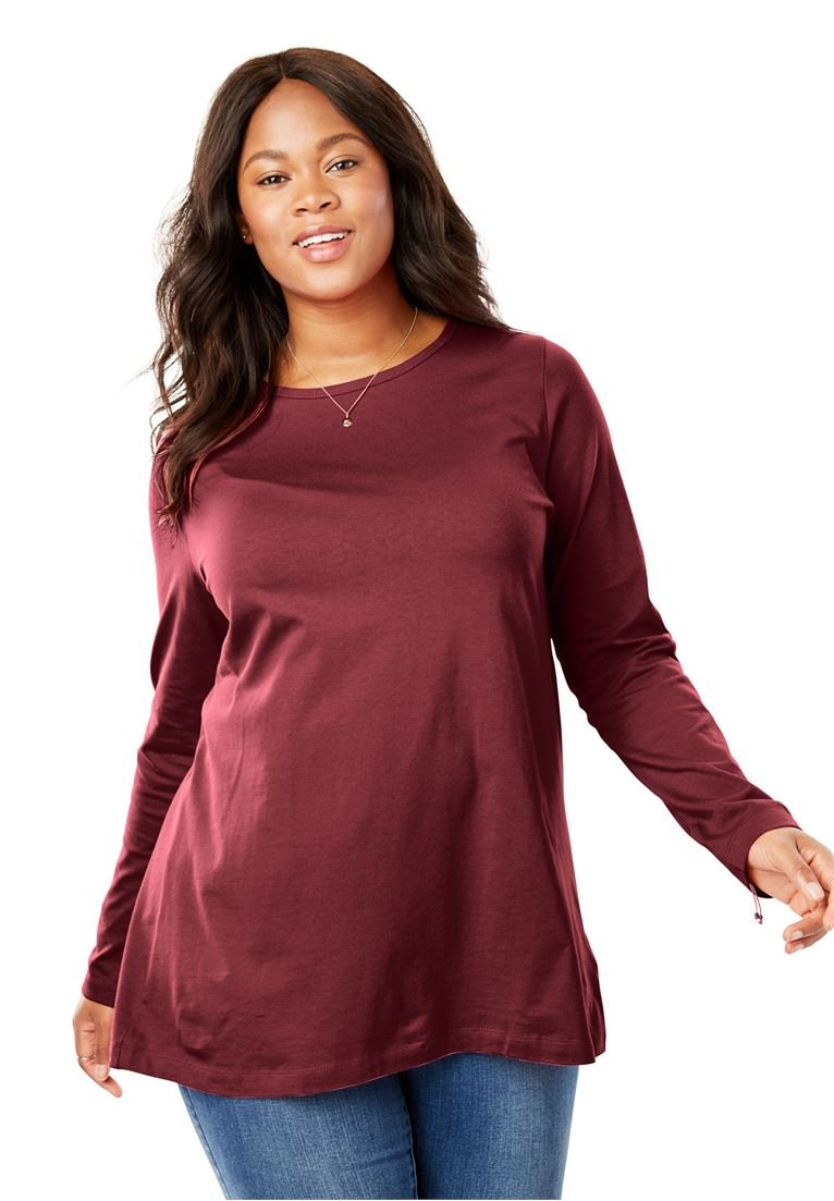 Women's Plus Size Perfect Long Sleeve Crewneck Tee