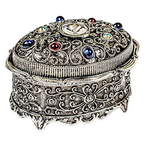 Oval Shaped Swarovski Crystal Jewel Silver Tone ()