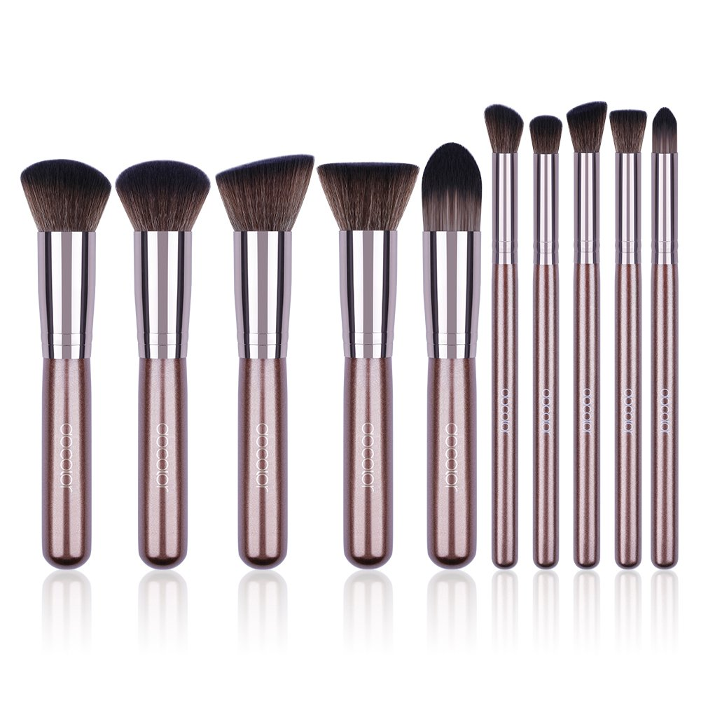 [Updated Version] Docolor 10Pcs Makeup Brushes Set Kabuki Foundation Kits with Cases-Coffee