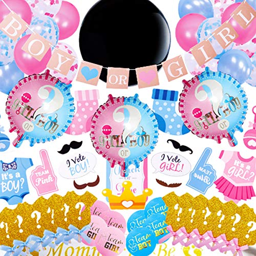 Baby Gender Reveal Party Supplies (108 Pieces) Kit, Cute Gender Revealing Decorations Set Including Photo Props, 36 Inch Reveal Balloon, Table Confetti, Boy or Girl Banner, Cake Toppers and much more...