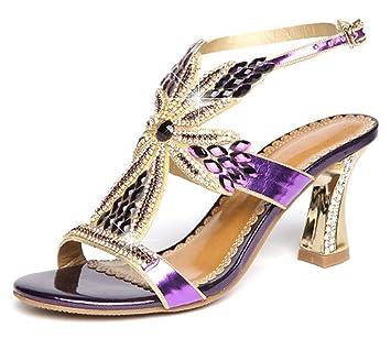 CYGG Ms High Heels Strass Blume Kreuz Gürtel Sexy Fashion Kitten Heel Sandalen , golden , 36