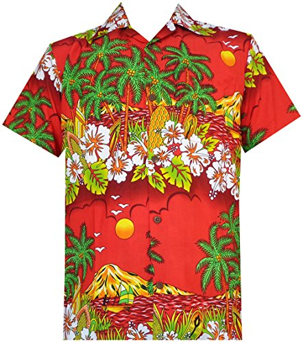 Alvish Hawaiian Shirts 44 Mens Floral Scenic Print Beach Aloha Party Camp Red M]()