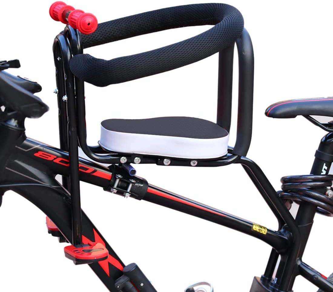 MAJOZ0 Children Bike Seat,Portable Child Safety Front Seat,Bicycle Baby Seat with Handrail Back Rest and Foot Platform
