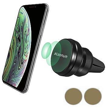 steanum Soporte Móvil para Coche, Magnético Teléfono Soporte Coche Metálico Montaje de Vent 360º Rotación