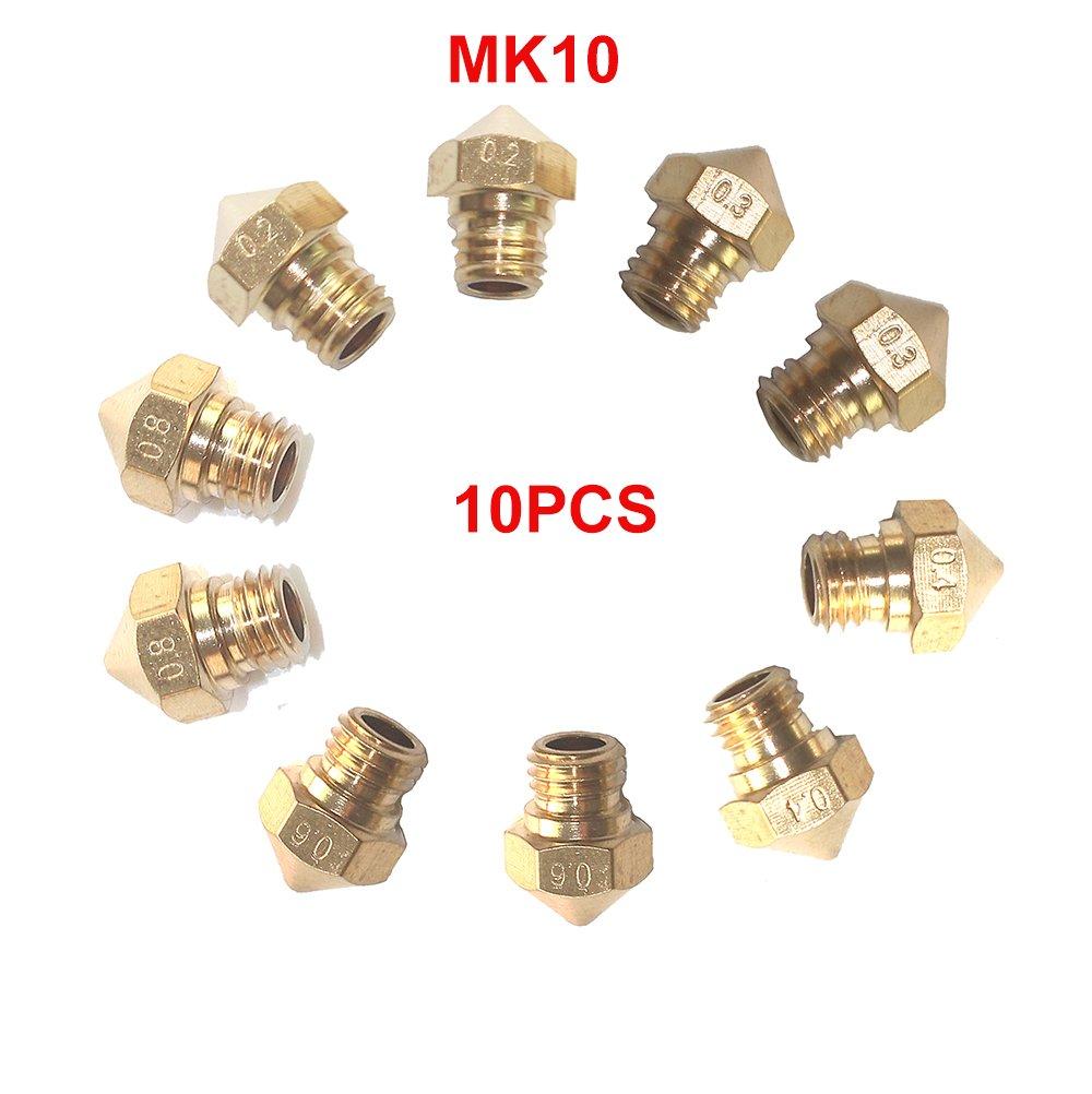 CCTREE 10PCS MK10 M7 Extruder Nozzle For 3D Printer Wanhao Dupicator D4/I3/Dremel Makerbot 2 0.2mm, 0.3mm, 0.4mm, 0.6mm, 0.8mm CCTREE 3D Printing CC-MK10-10-V