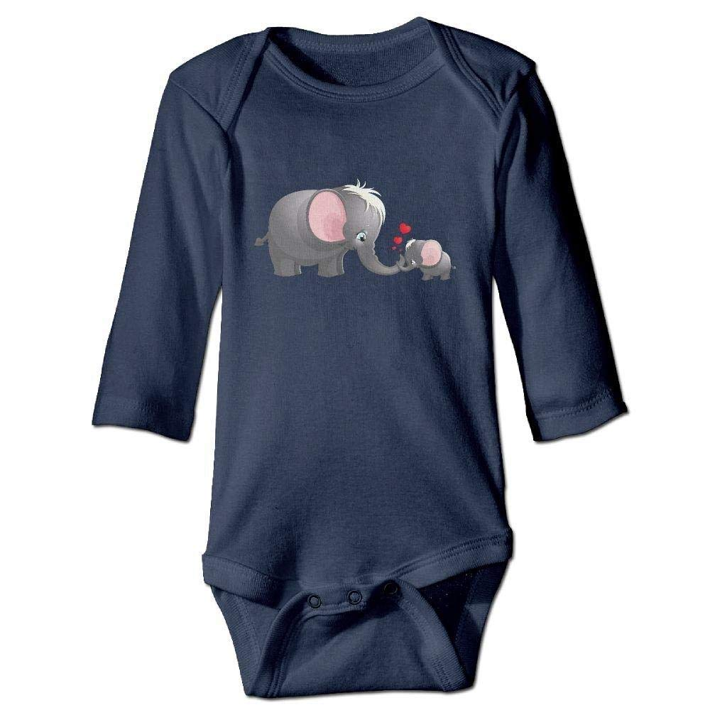 Baby Cartoon Elephant Mother and Baby Long Sleeve Romper Onesie Bodysuit Jumpsuit