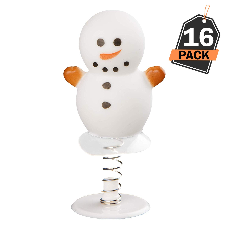 Set da 16 Pezzi Pupazzi di Neve a Molla Che Saltellano Regalo di Natale Calza della Befana Omaggi Feste Bomboniere