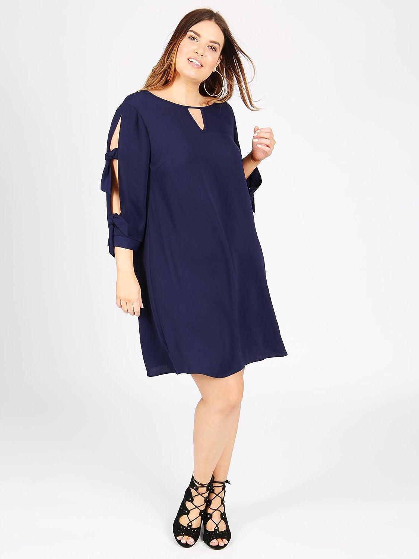 d5c0c270916 Lovedrobe Koko Women s Navy Blue Tie Sleeve Shift Dress Ladies Plus Size  16-30  Amazon.co.uk  Clothing