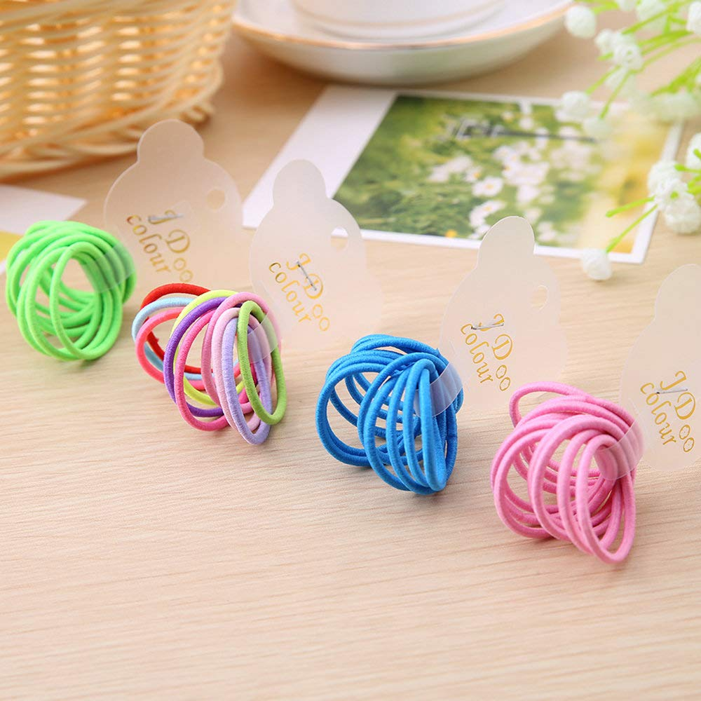 100 Multi Color Pastel Rubber Band Hair Tie Small Belle Kids Snag Free