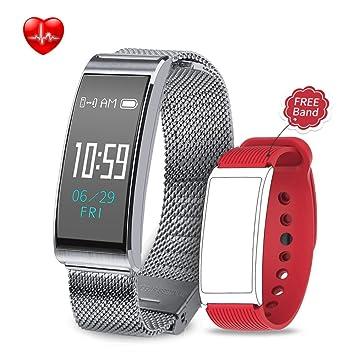 Unitify Reloj Pulsera Inteligente Pantalla Táctil Resistente al Agua Smart Fitness Tracker con Pulsómetro GPS Cardiac Rhythm Monitor Message Notification ...