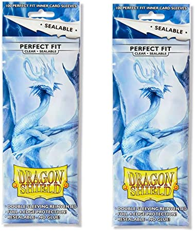 Dragon Shield 100 Standard Size Perfect Fit Clear Resealable Sleeves