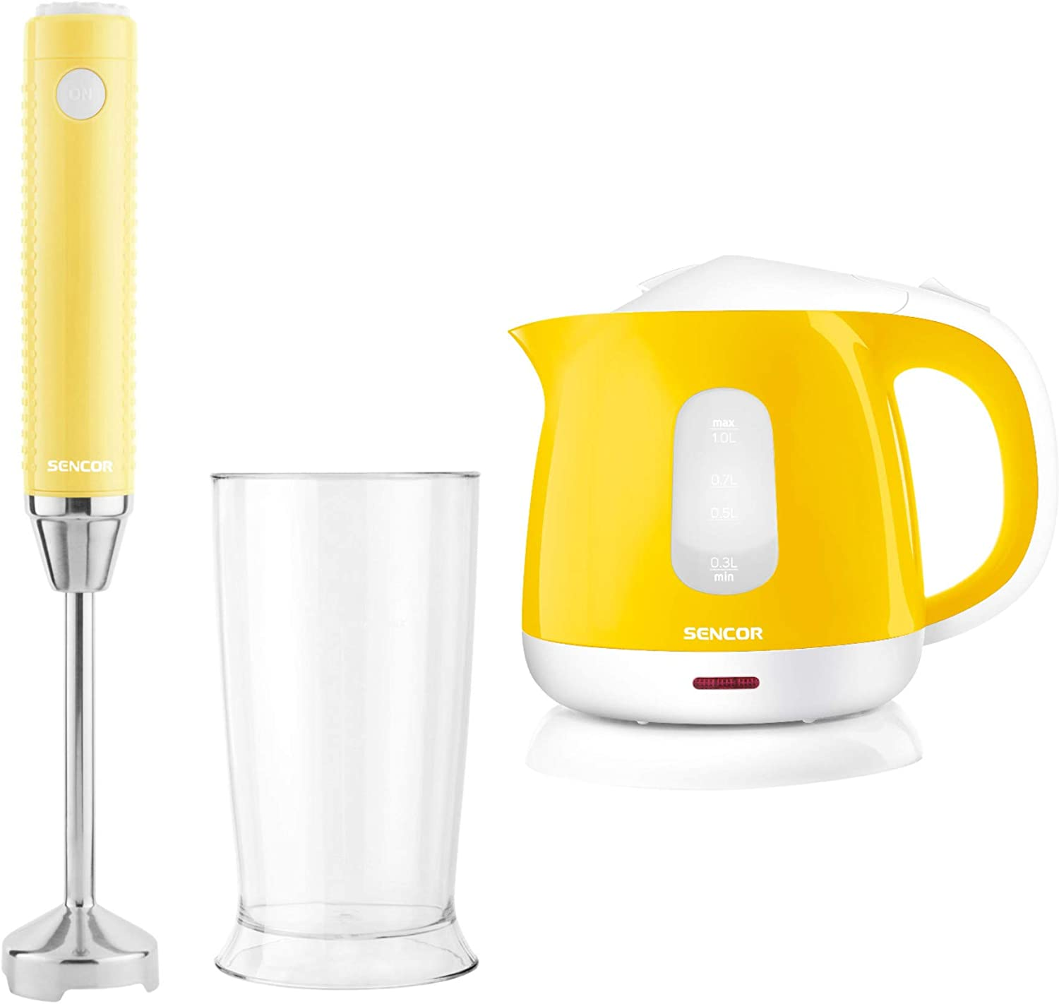 Sencor Extra Slim Hand Blender and Small Electric Kettle Bundle (Yellow) (2 Items)