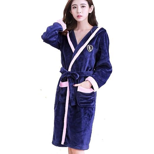 lovehouse Women Sleepwear Robe Flannel Cotton Shawl Collar Knee Length  Kimono Spa Bathrobe -A M b985d046a