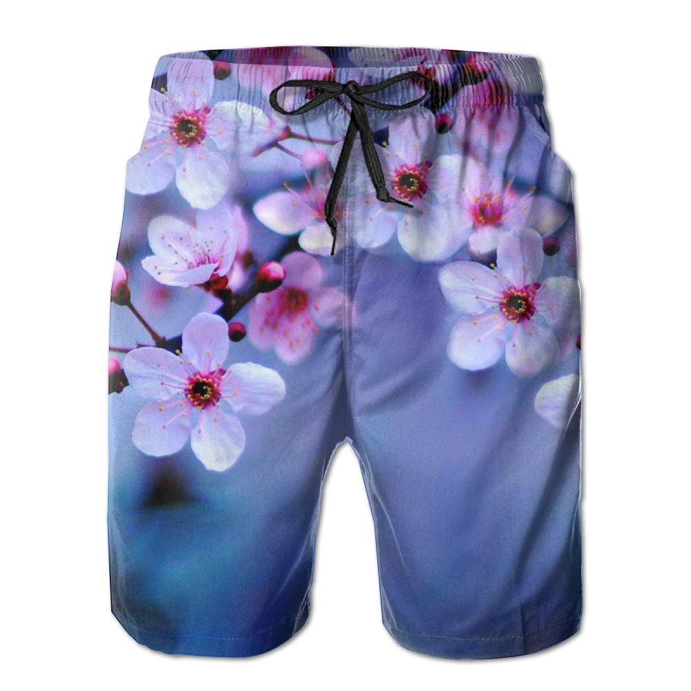 Peach Blossom Mens Beach Board Shorts Quick Dry Summer Casual Swimming Soft Fabric with Pocket