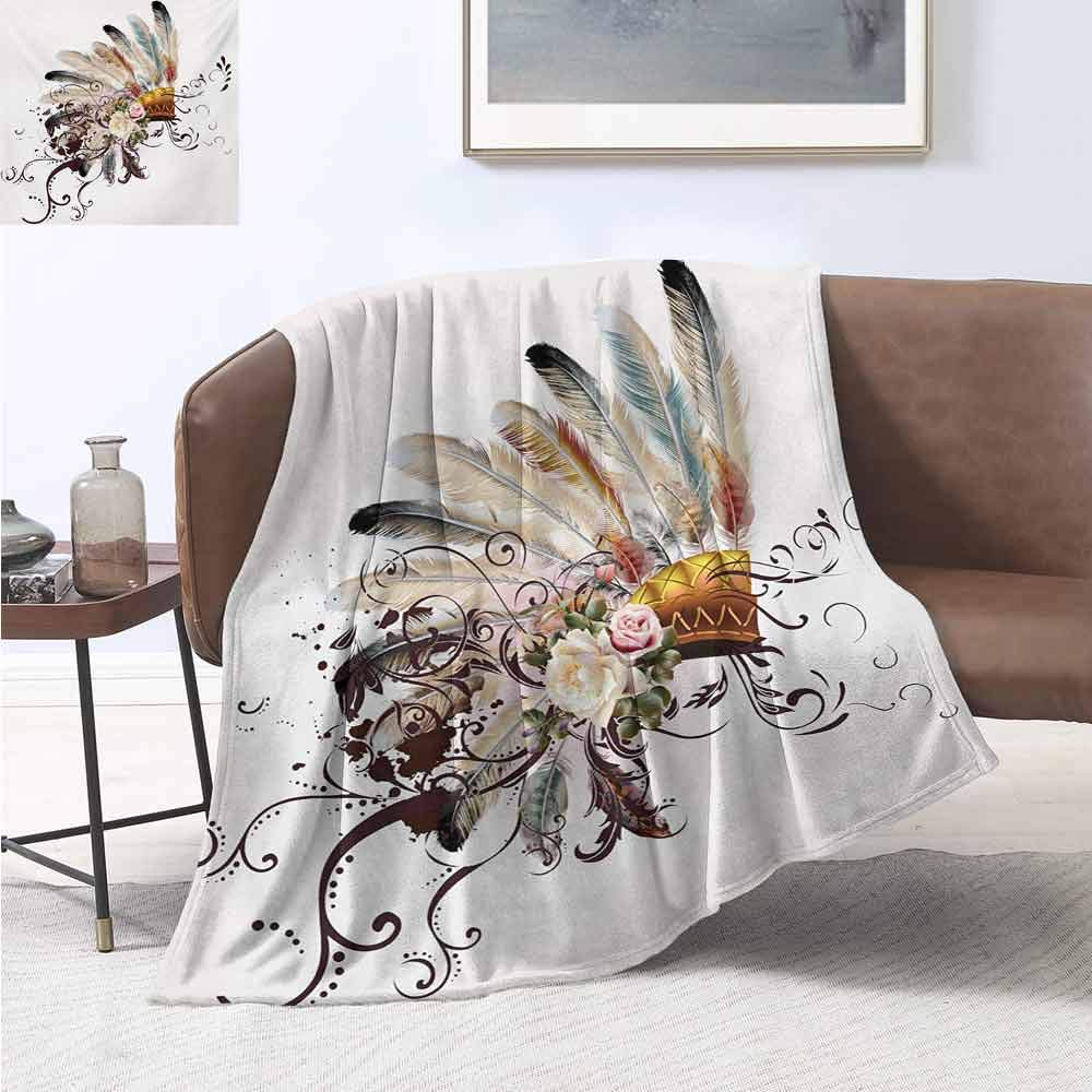 jecycleus Feather Luxury Special Grade Blanket Native American Symbol with Floral Arrangements Head Wear Flowers Swirls Shapes Multi-Purpose use for Sofas etc. W70 by L70 Inch Multicolor by jecycleus