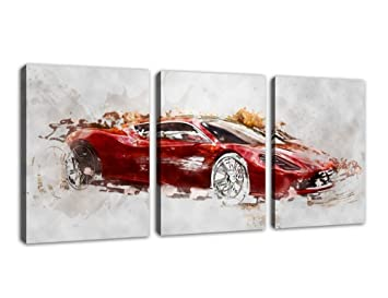 canvas wall art sport car abstract painting canvas prints framed ready to hang 3 pieces