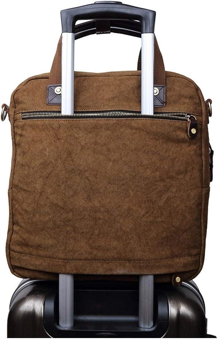 Abiliyy Office Canvas Retro European Style Briefcase Shoulder Messenger Crossbody Satchel Casual Bag Holder for Men