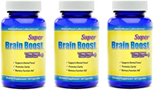 Brain Supplement Nootropic Super Brain Boost 1554 Improve Focus Calrity Memory Concentration Contains Ginkgo Biloba St. John's Wort Bacopa Monniera DMAE 60 Capsules 3 Bottles