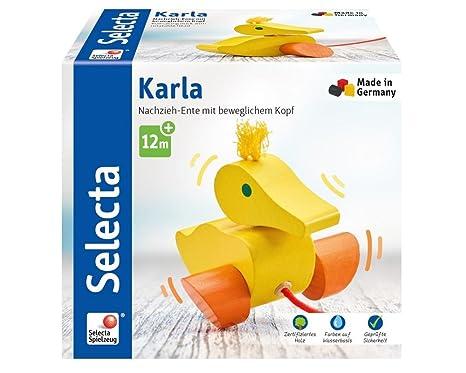 Selecta Holzspielzeug Nachzieh-Ente KarlaNachziehtierSpielzeug ab 1 Jahr Holzspielzeug