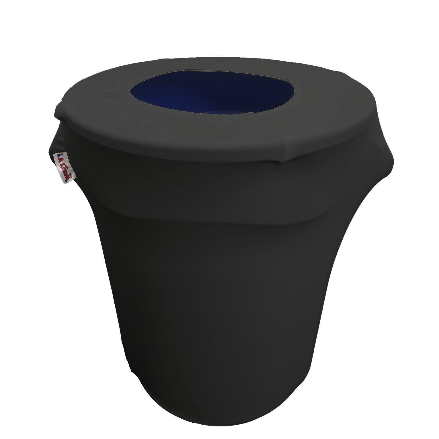 LA Linen Stretch Spandex Trash Can Cover 44-Gallon Round,Black by LA Linen