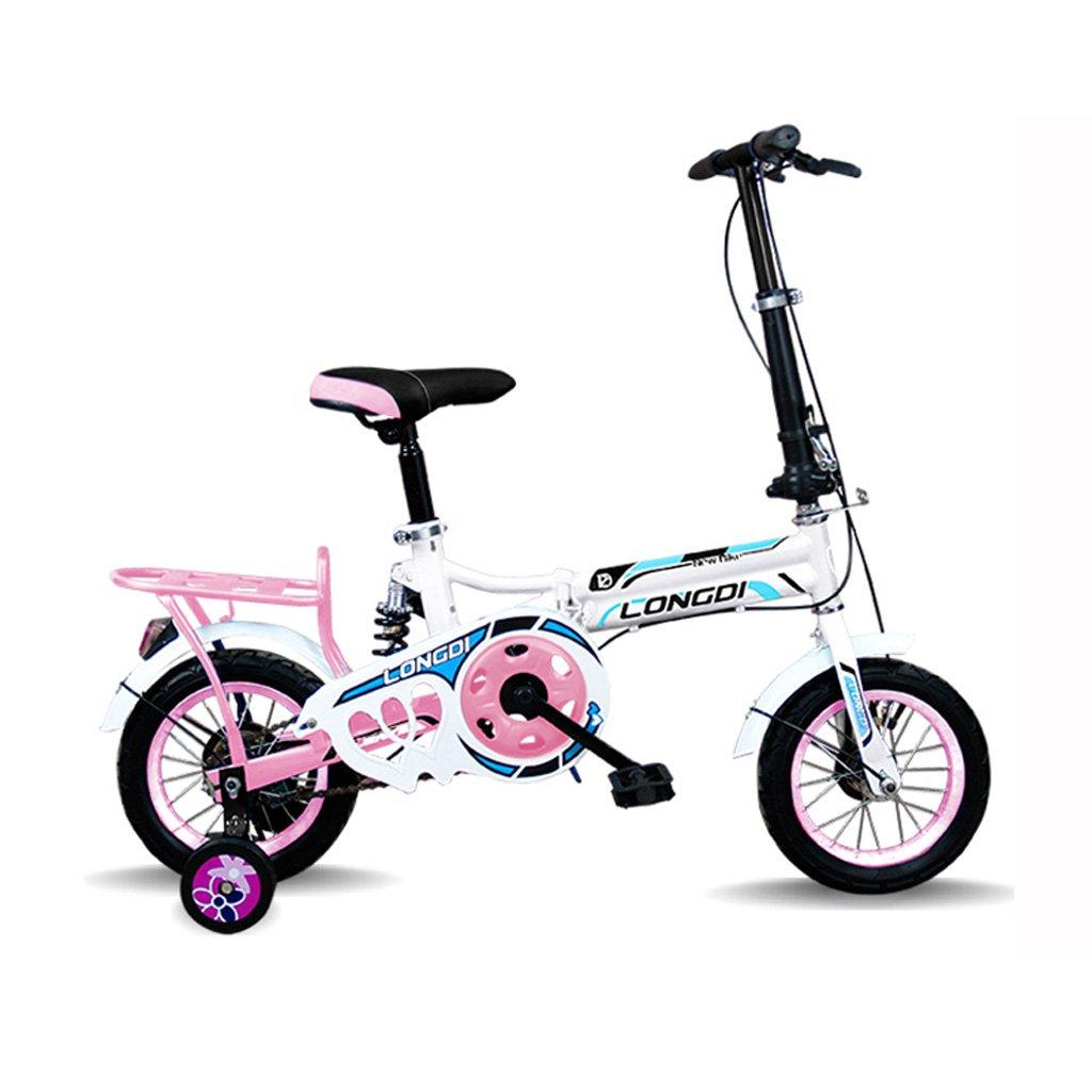 子供の折りたたみ自転車12インチ高炭素鋼の自転車2-4歳の子供の自転車、黒と白赤/白青/ピンクホワイト/ホワイトグリーン (Color : White) B07CZ97136