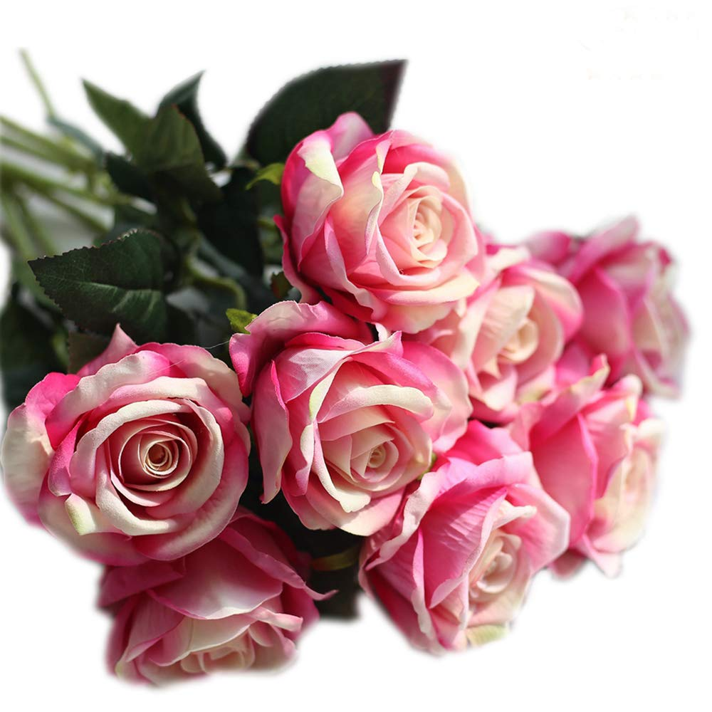 cn-Knight 12pcs Artificial Silk Rose Real Touch Blossom Velvet Flower Fake Bouquets for Wedding,Bride&Bridesmaid,Home Office Hotel Decor,Baby Shower,Party,Prom, Centerpieces,Door Wreath(Gradient Pink)