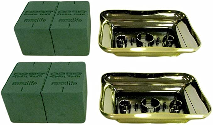 2 2 Kit Pack 1 Vacuum Orna Metal Plastic Gold Plated Centerpiece Tray Centerpiece Arrangement Kit - Each Kit Has Oasis Floral Foam Micro Bricks +