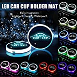Automotive : Carmoni Led Car Cup Holder Mat Pad Waterproof Bottle Drinks Coaster Built-in Vibration Automatically Turn On at Dark Universal 8-Color Light 2-Packs