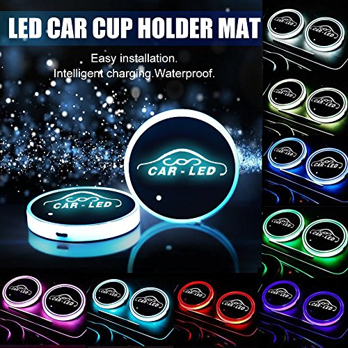Carmoni-Led-Car-Cup-Holder-Mat-Pad-Waterproof-Bottle-Drinks-Coaster-Built-in-Vibration-Automatically-Turn-On-at-Dark-Universal-8-Color-Light-2-Packs
