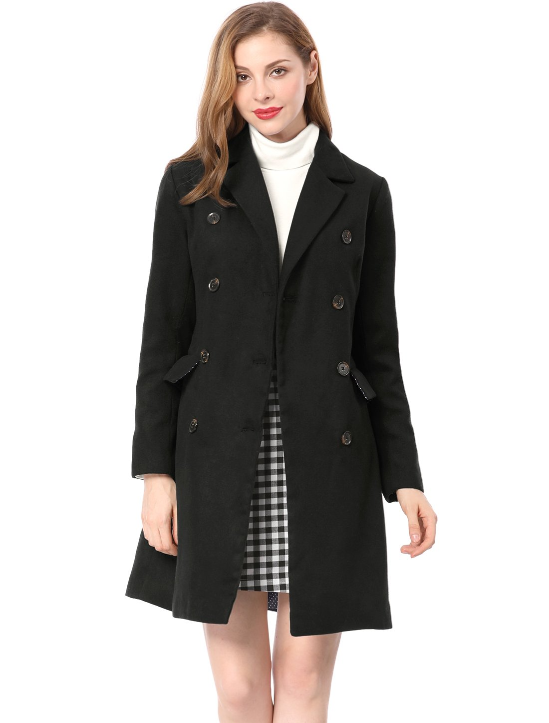 Allegra K Women's Notched Lapel Double Breasted Trench Coat L Black