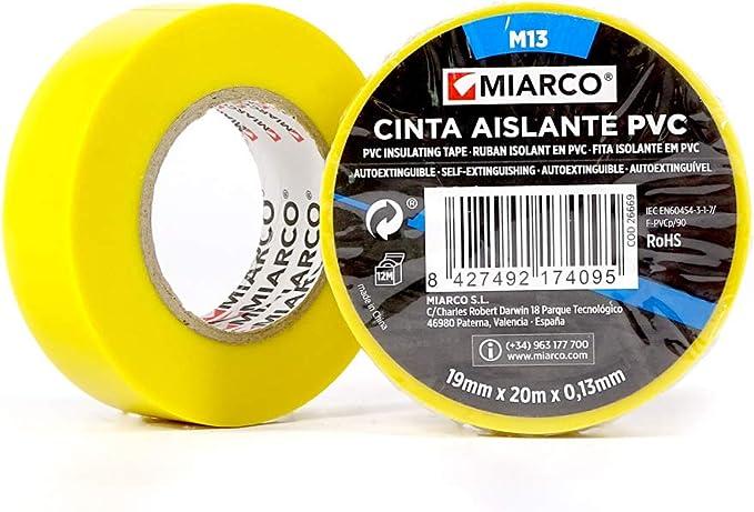 miarco 26669 CINTA AISLANTE M13 20M AMARILLO 10 UNIDADES, 19MM X 20: Amazon.es: Bricolaje y herramientas
