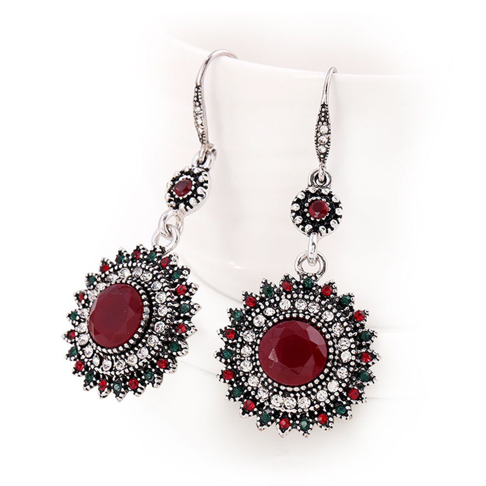 Women's Vintage Classic Folk-custom Sun Flower Design Earrings for Women Girls (Silver-Red)