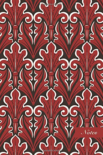 """Download Notes: 6""""x9"""" Blank Lined Page Notebook Oriental Curve Spiral Botanic Red Leaf Plant Seamless Pattern Cover. Matte Softcover Ruled Note Book Journal PDF"""