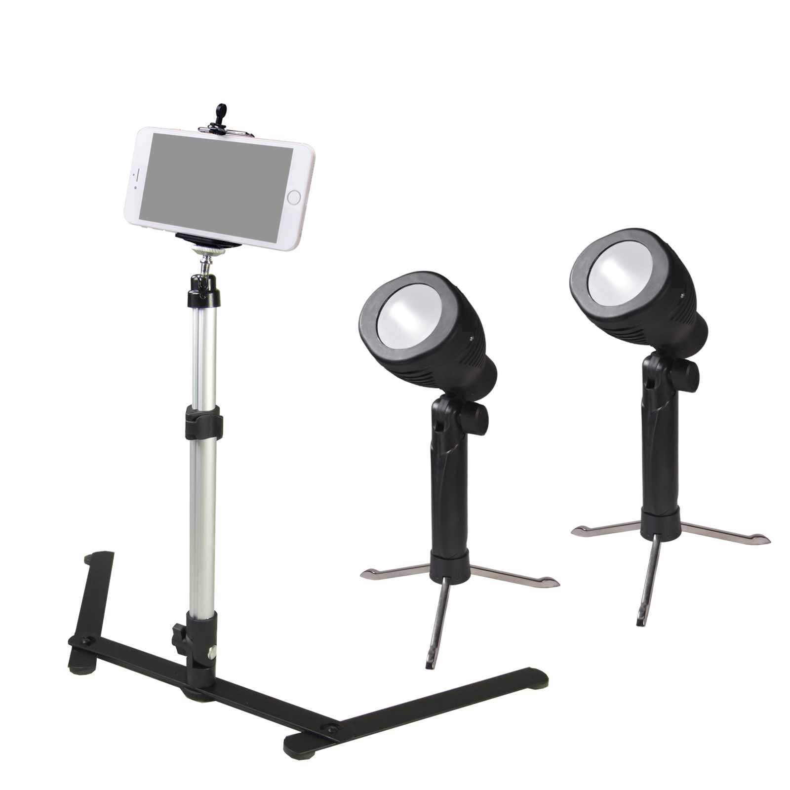 PBL Desktop Lighting Kit Bicolor with Phone Holder Camera Stand for Makeup YouTube Video Shooting Portrait Selfie Live Webcast Still Life Photography