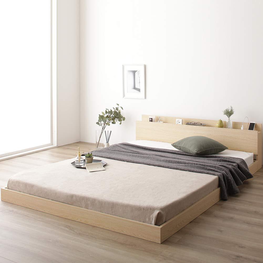 ベッド 低床 ロータイプ すのこ 木製 棚付き 宮付き コンセント付き シンプル モダン ナチュラル ダブル ボンネルコイルマットレス付き B07PDQWHCY ナチュラル ダブル ボンネルコイルマットレス付き